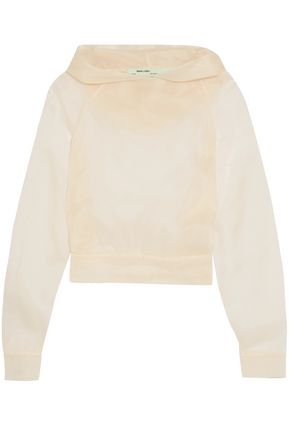 OFF-WHITE™ Silk-organza hooded top