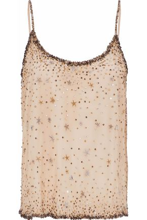 JOIE Embellished tulle camisole