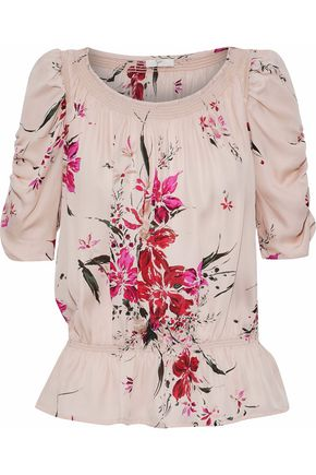 JOIE Ruched printed silk top