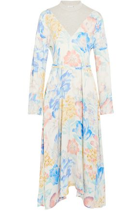 VETEMENTS Asymmetric jersey-paneled floral-print crepe de chine midi dress
