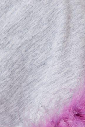 CINQ À SEPT Zoie feather-trimmed mélange stretch-cotton jersey T-shirt