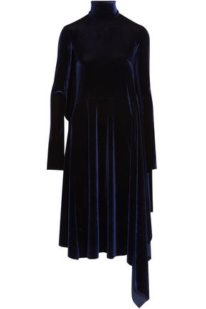 VETEMENTS Open-back asymmetric velvet turtleneck dress
