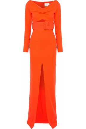 SOLACE LONDON Adalene belted cutout crepe gown