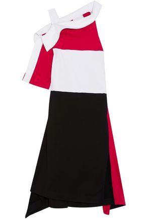 KOCHÉ Asymmetric draped cotton-twill and jersey dress