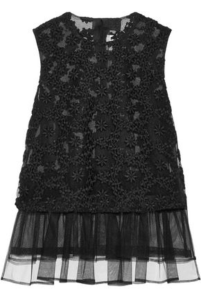 NOIR KEI NINOMIYA Tiered embroidered tulle top