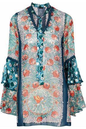 ANNA SUI Flower Child pussy-bow  silk-chiffon tunic