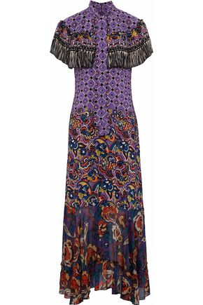ANNA SUI Cape-effect printed silk crepe de chine and chiffon gown