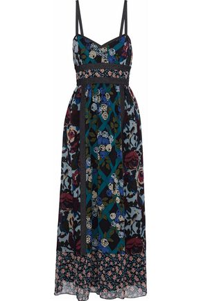 ANNA SUI Denim-trimmed floral-print silk maxi dress