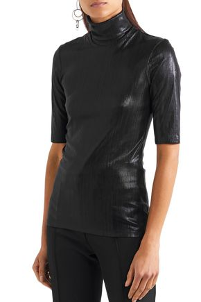 PALLAS Metallic stretch-knit turtleneck top