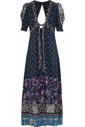 ANNA SUI Open-back printed silk robe