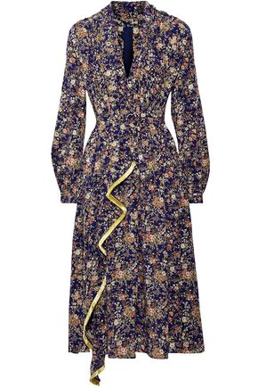 ADAM LIPPES Fringe-trimmed metallic floral-print silk-georgette midi dress