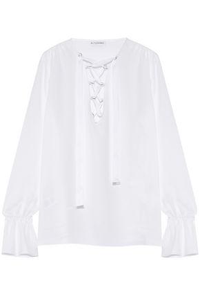ALTUZARRA Capulet lace-up silk-blend crepe blouse