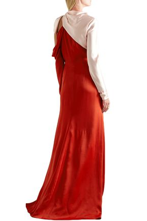 MONSE One-shoulder two-tone satin gown