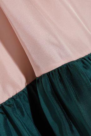 ROKSANDA Gathered color-block silk-twill mini dress