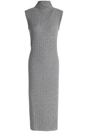 ENZA COSTA Ribbed cotton and cashmere-blend turtleneck dress
