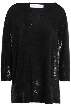 IRO Sequined jersey top