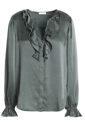 JOIE Ruffled silk-satin blouse