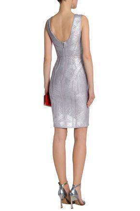 670dcb2e353 ... HERVÉ LÉGER Annette metallic coated bandage mini dress