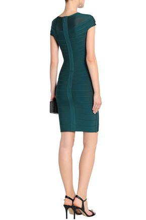 HERVÉ LÉGER Mesh-paneled bandage dress