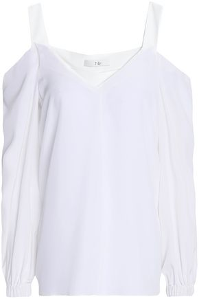 TIBI Cold-shoulder silk blouse