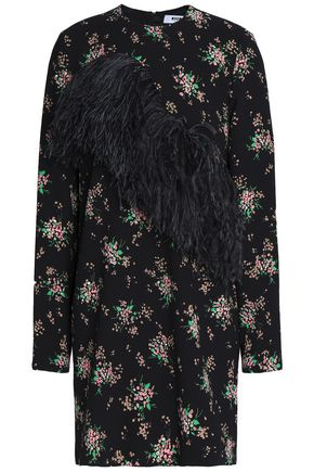 MSGM Feather-trimmed floral-print crepe mini dress