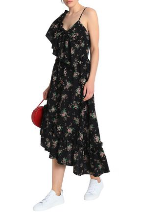 MSGM Asymmetric ruffled floral-print crepe midi dress