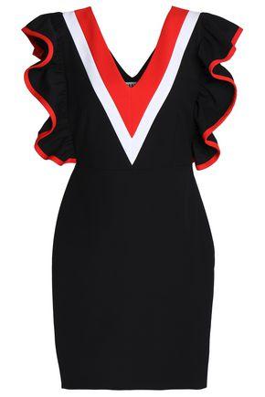 MSGM Ruffled color-block cotton-blend mini dress