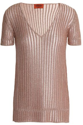 MISSONI Metallic ribbed-knit T-shirt