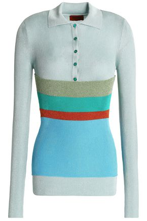 MISSONI Paneled ribbed-knit top