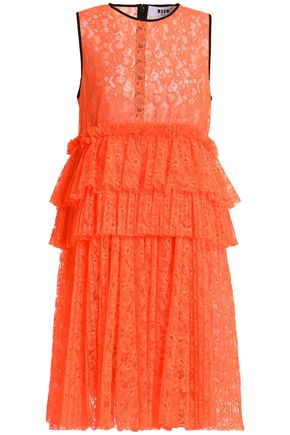 MSGM Pleated neon lace peplum dress