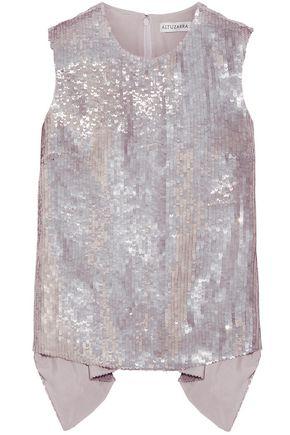 ALTUZARRA Perdita asymmetric sequined silk-chiffon top