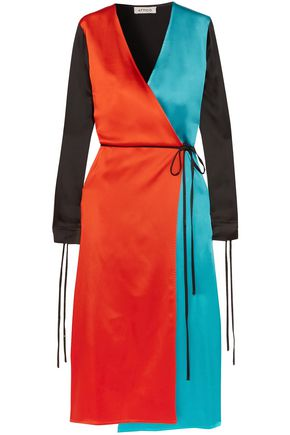 ATTICO Grace color-block satin wrap dress