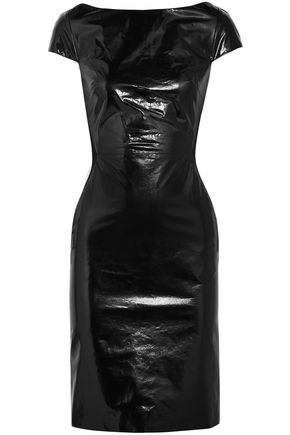 GARETH PUGH Glossed-leather and jersey dress