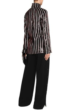 MSGM Sequined striped crepe turtleneck top