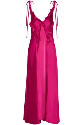 ATTICO Carla ruffle-trimmed washed-satin maxi dress
