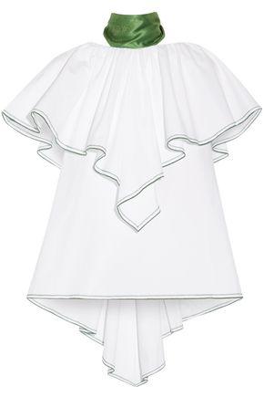 ROSIE ASSOULIN Wedge one-shoulder ruffled cotton-poplin top
