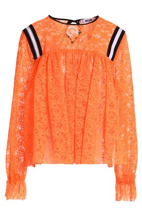 MSGM Gathered lace blouse