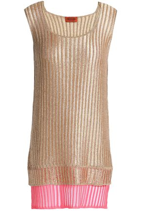 MISSONI Layered metallic ribbed-knit tank