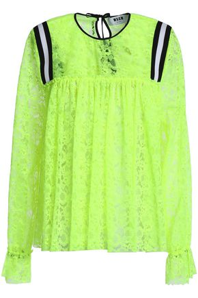 MSGM Gathered neon lace blouse