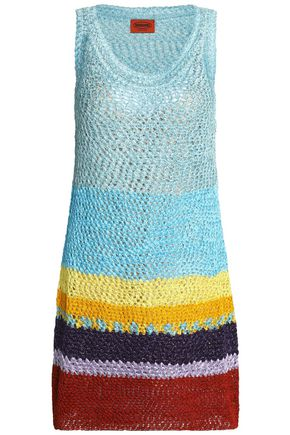 MISSONI Metallic color-block crochet-knit mini dress