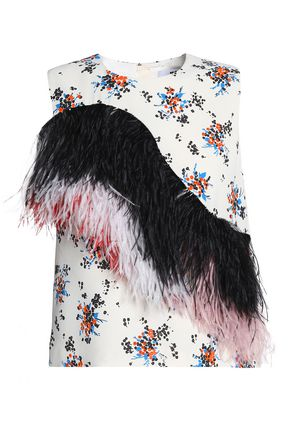 MSGM Feather-trimmed floral-print crepe top