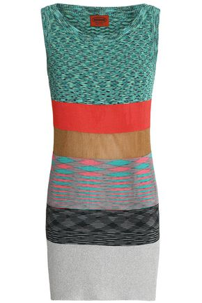 MISSONI Color-block stretch-knit mini dress