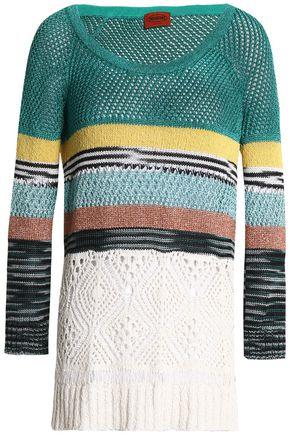 MISSONI Paneled metallic crochet-knit sweater