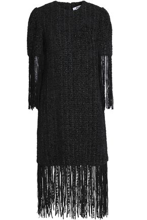 MSGM Fringe-trimmed bead-embellished bouclé-tweed dress