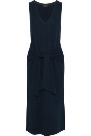 RAG & BONE Tie-front ribbed cotton-blend midi dress