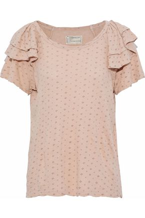 CURRENT/ELLIOTT The Ruffle Roadie printed linen and cotton-blend T-shirt