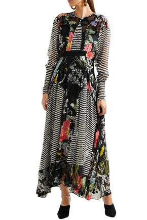 PREEN by THORNTON BREGAZZI Audrey printed devoré-chiffon midi dress