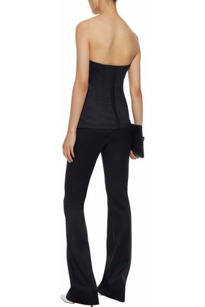 THEORY Strapless satin-trimmed twill top