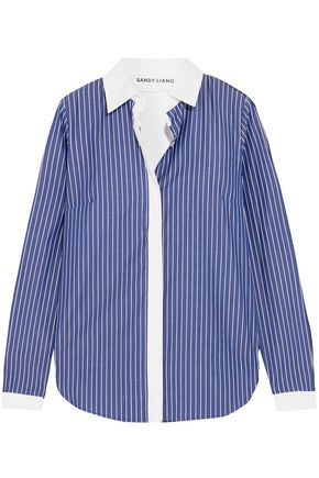 SANDY LIANG Enzo open-back pinstriped cotton-poplin shirt
