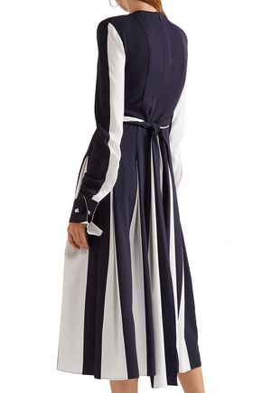MONSE Wrap-effect two-tone silk-blend crepe midi dress